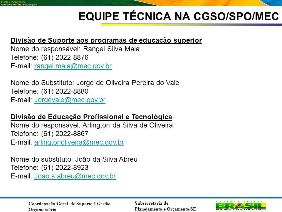 EQUIPE TÉCNICA NA CGSO/SPO/MEC