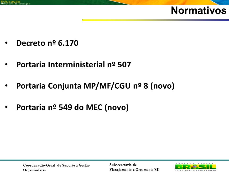 Normativos Decreto nº 6.170 Portaria Interministerial nº 507