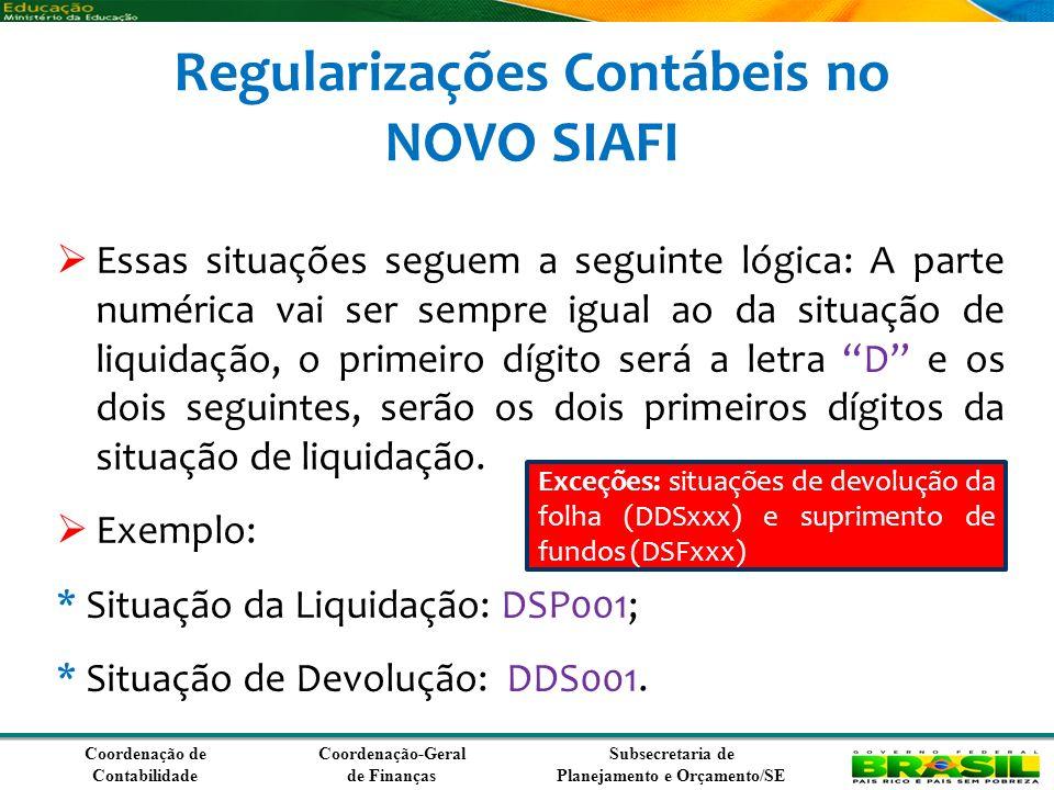 Regularizações Contábeis no NOVO SIAFI