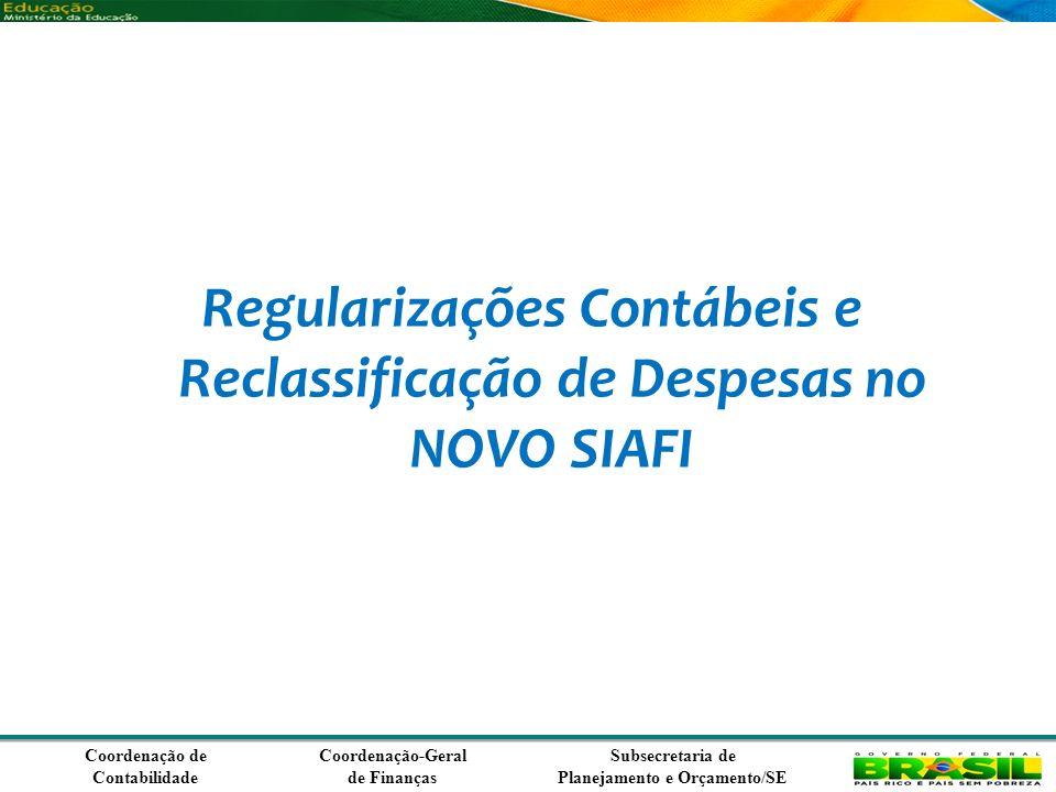 Regularizações Contábeis e Reclassificação de Despesas no NOVO SIAFI