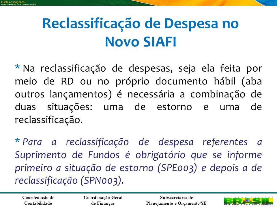 Reclassificação de Despesa no Novo SIAFI