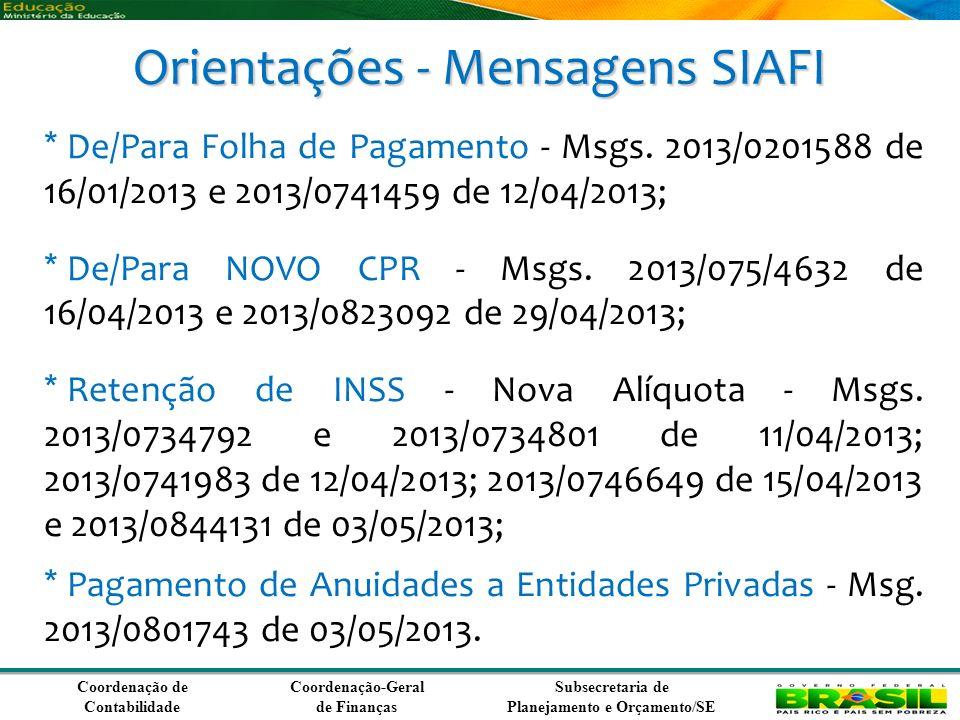 Orientações - Mensagens SIAFI
