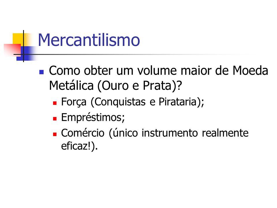 Mercantilismo Como obter um volume maior de Moeda Metálica (Ouro e Prata) Força (Conquistas e Pirataria);
