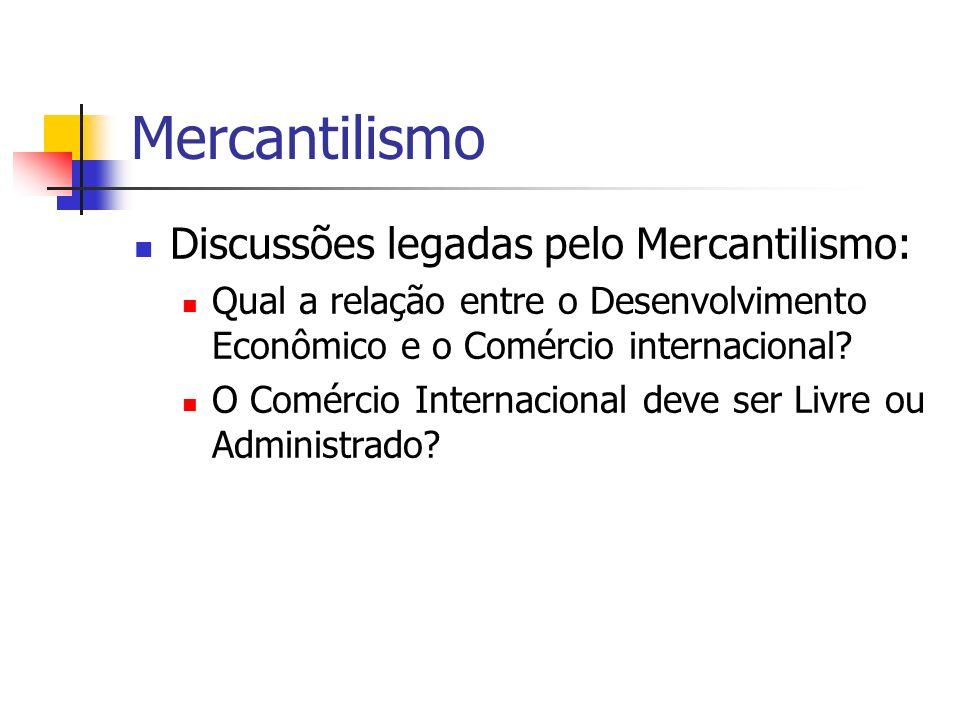 Mercantilismo Discussões legadas pelo Mercantilismo: