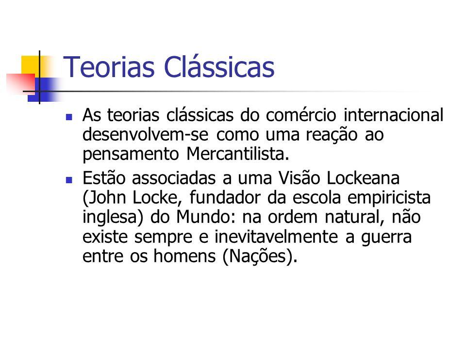 Teorias Clássicas As teorias clássicas do comércio internacional desenvolvem-se como uma reação ao pensamento Mercantilista.