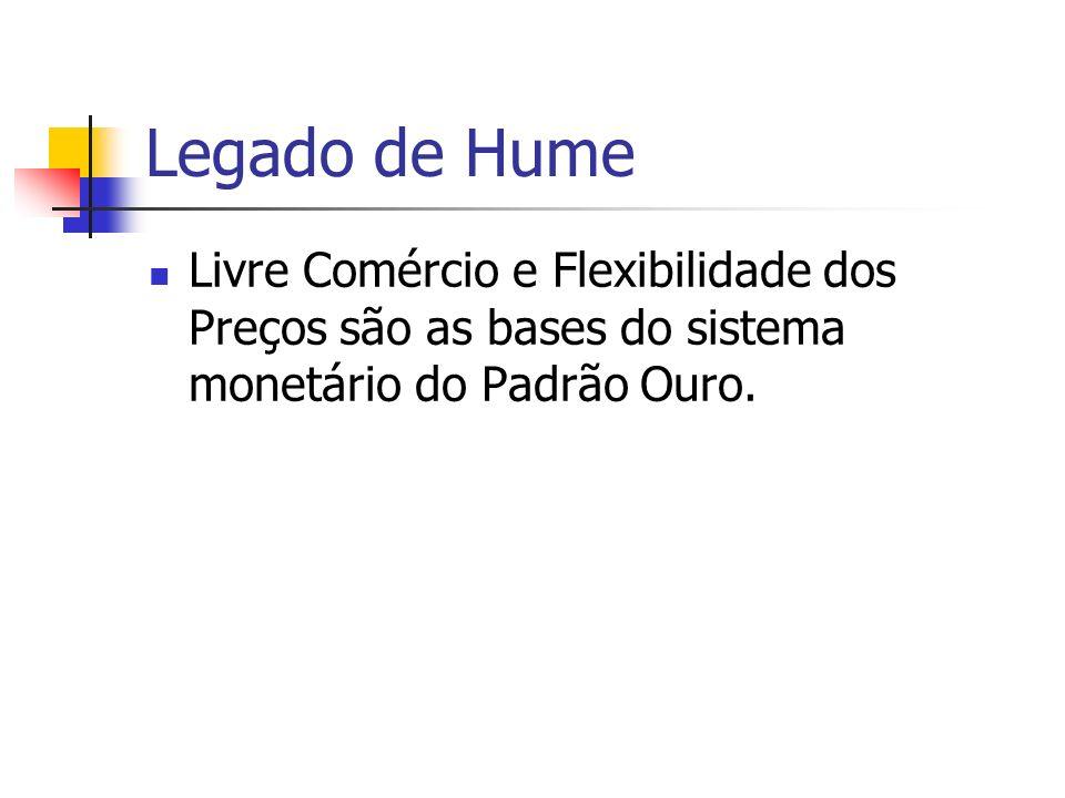 Legado de Hume Livre Comércio e Flexibilidade dos Preços são as bases do sistema monetário do Padrão Ouro.