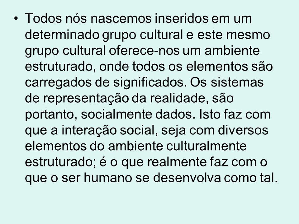 Todos nós nascemos inseridos em um determinado grupo cultural e este mesmo grupo cultural oferece-nos um ambiente estruturado, onde todos os elementos são carregados de significados.