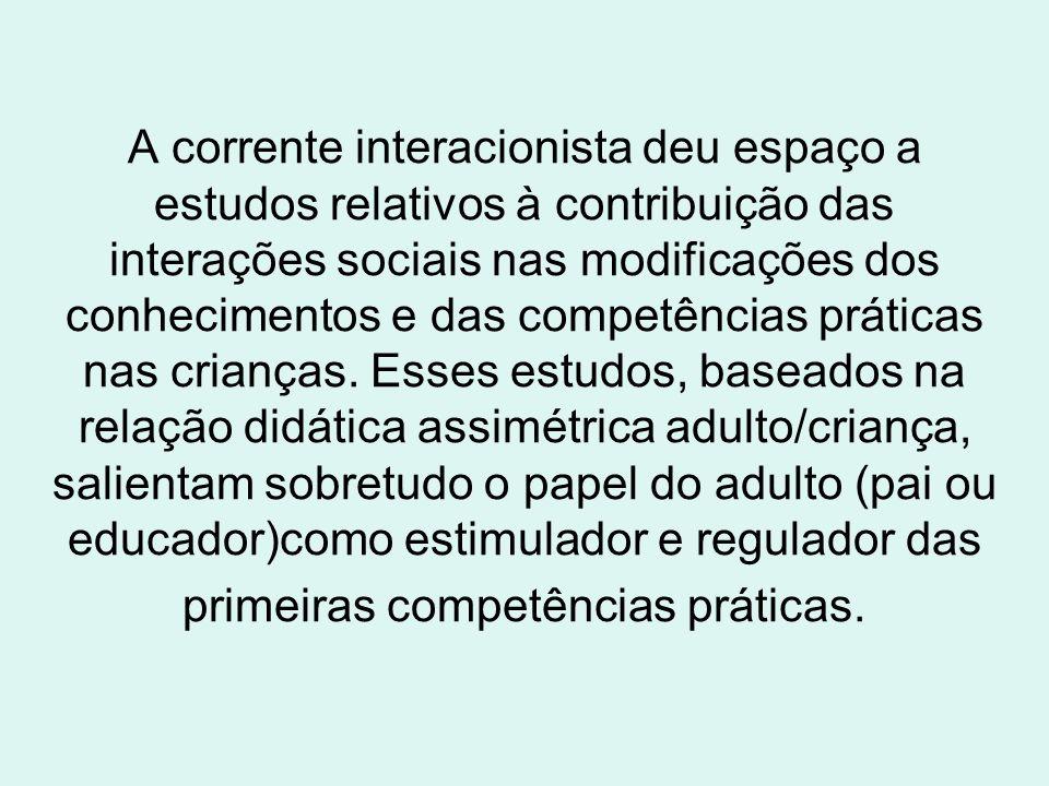 A corrente interacionista deu espaço a estudos relativos à contribuição das interações sociais nas modificações dos conhecimentos e das competências práticas nas crianças.