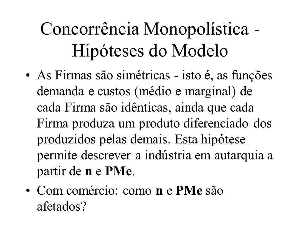 Concorrência Monopolística - Hipóteses do Modelo