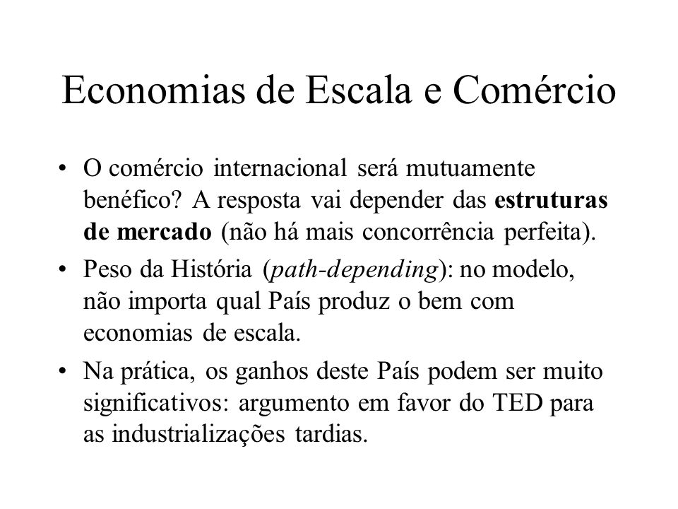 Economias de Escala e Comércio