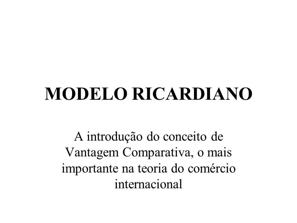 MODELO RICARDIANOA introdução do conceito de Vantagem Comparativa, o mais importante na teoria do comércio internacional.