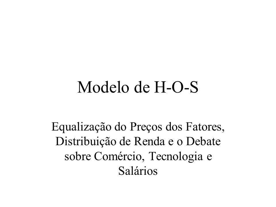 Modelo de H-O-S Equalização do Preços dos Fatores, Distribuição de Renda e o Debate sobre Comércio, Tecnologia e Salários.