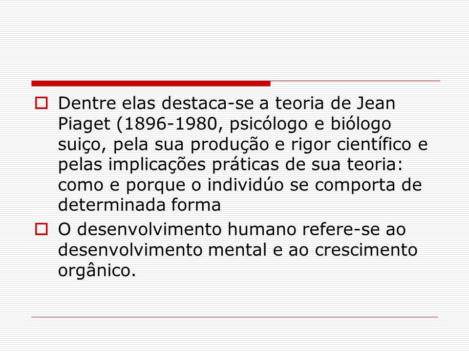Dentre elas destaca-se a teoria de Jean Piaget (1896-1980, psicólogo e biólogo suiço, pela sua produção e rigor científico e pelas implicações práticas de sua teoria: como e porque o individúo se comporta de determinada forma