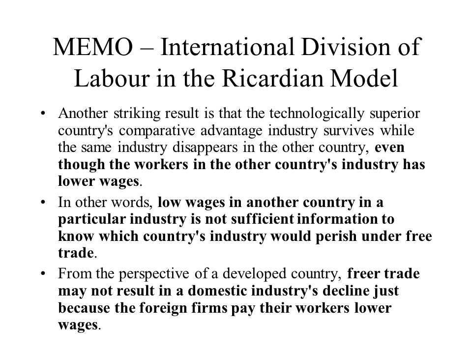 MEMO – International Division of Labour in the Ricardian Model