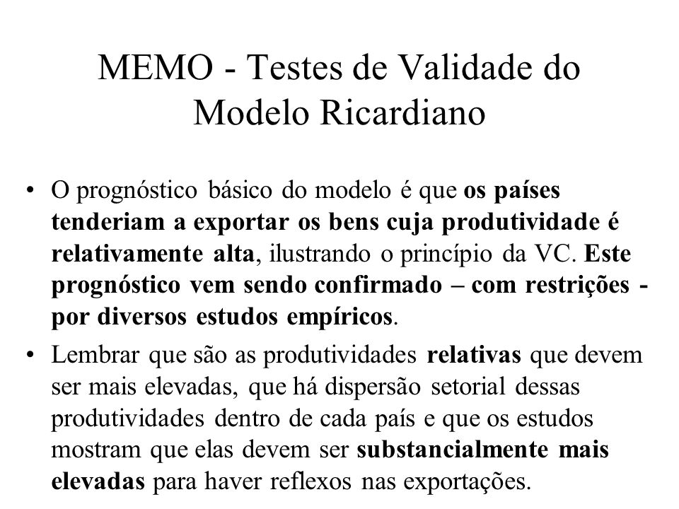 MEMO - Testes de Validade do Modelo Ricardiano