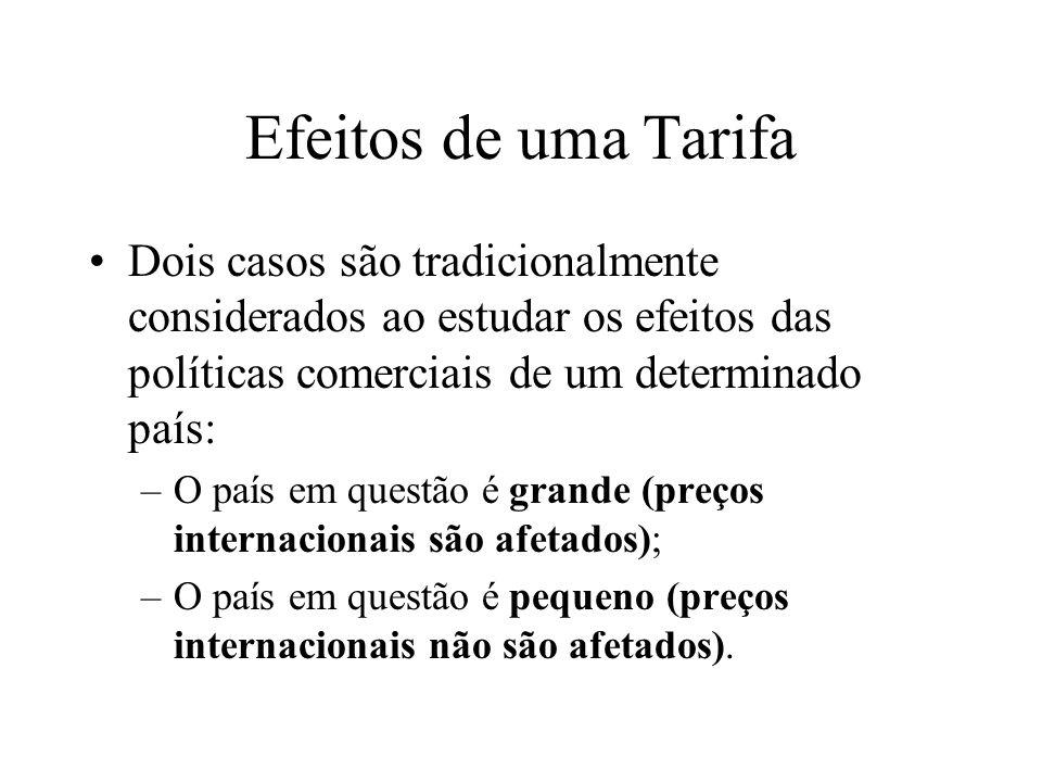 Efeitos de uma Tarifa Dois casos são tradicionalmente considerados ao estudar os efeitos das políticas comerciais de um determinado país: