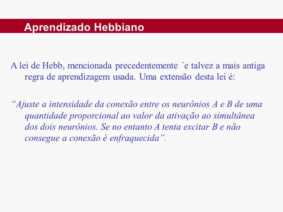 Aprendizado Hebbiano A lei de Hebb, mencionada precedentemente ´e talvez a mais antiga regra de aprendizagem usada. Uma extensão desta lei é: