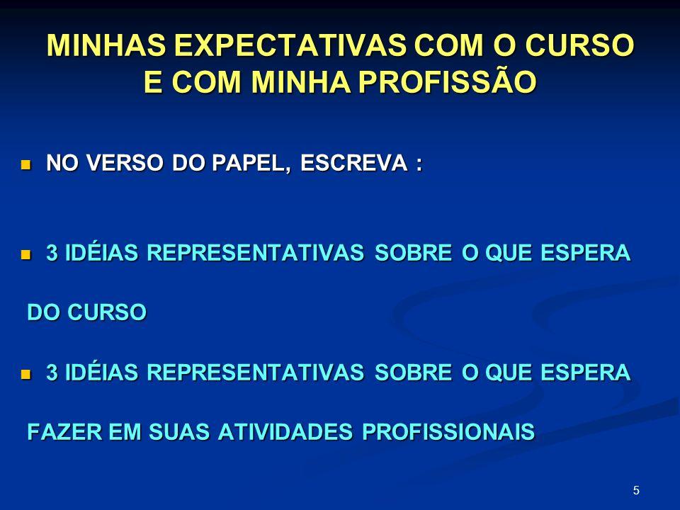 MINHAS EXPECTATIVAS COM O CURSO E COM MINHA PROFISSÃO