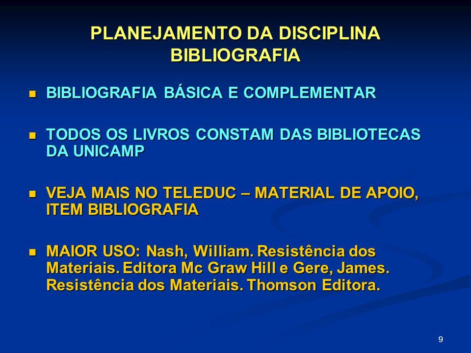 PLANEJAMENTO DA DISCIPLINA BIBLIOGRAFIA