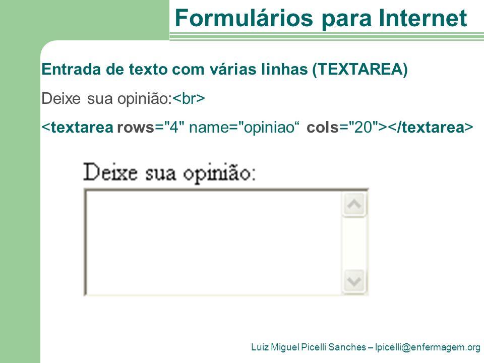 Entrada de texto com várias linhas (TEXTAREA)
