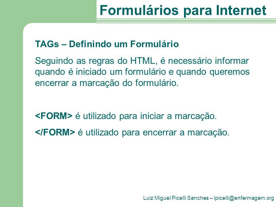 TAGs – Definindo um Formulário