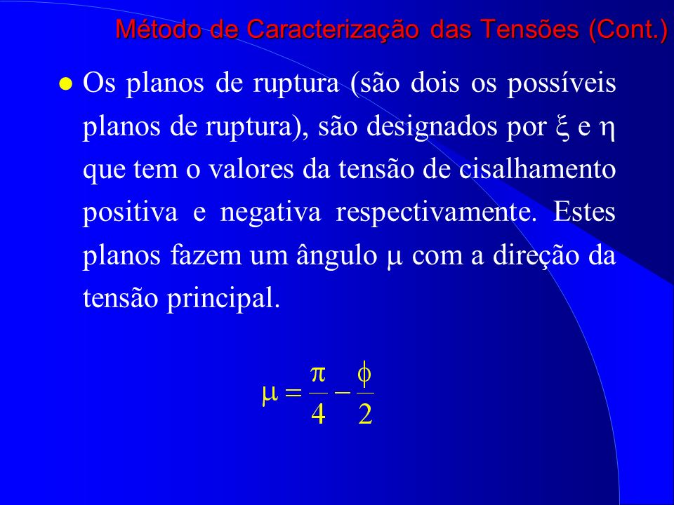 Método de Caracterização das Tensões (Cont.)