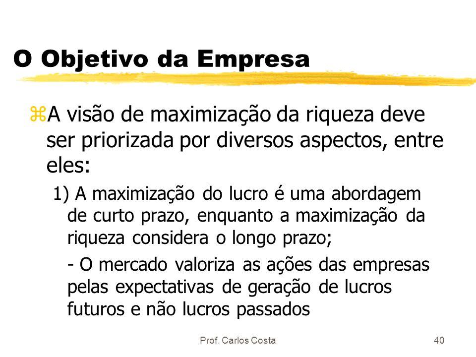 O Objetivo da Empresa A visão de maximização da riqueza deve ser priorizada por diversos aspectos, entre eles: