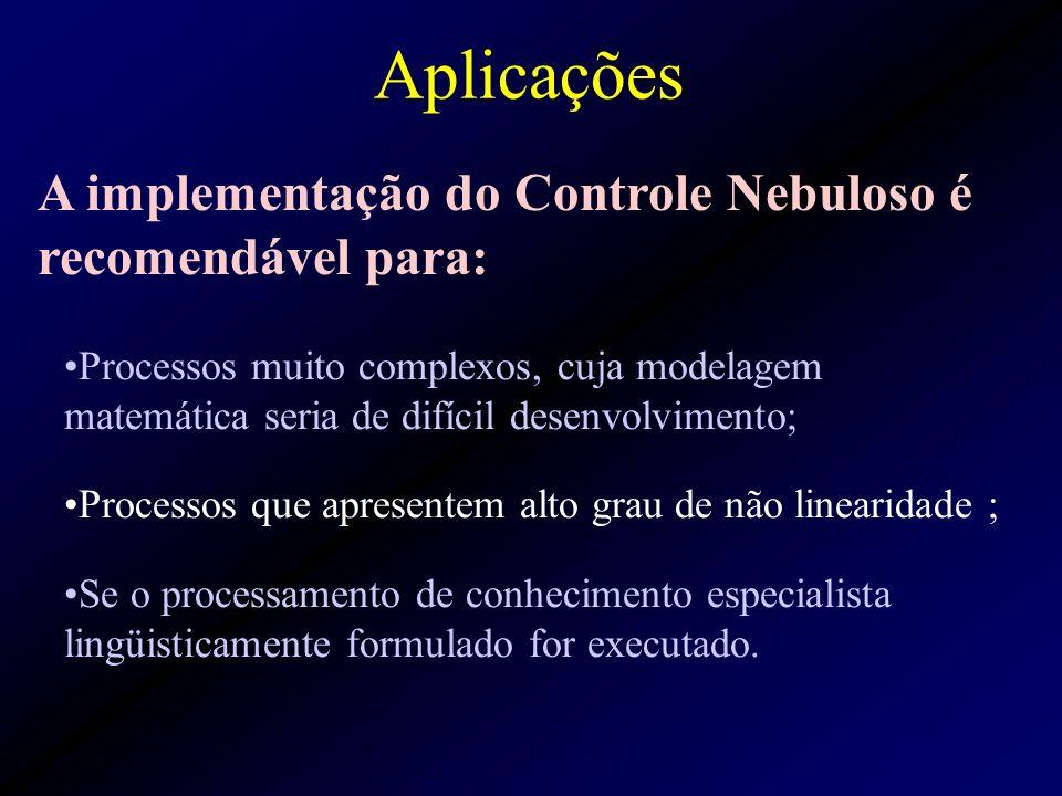 Aplicações A implementação do Controle Nebuloso é recomendável para:
