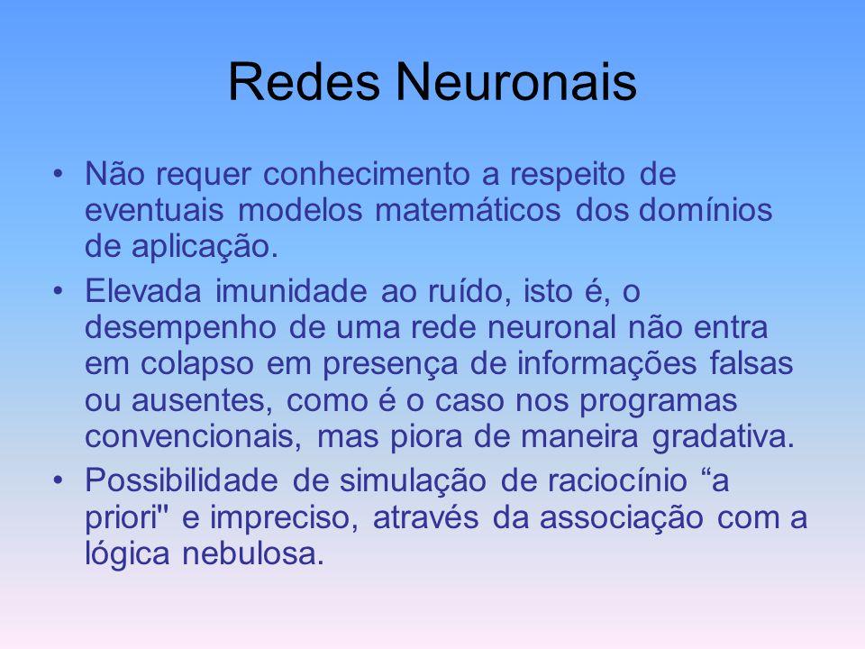 Redes Neuronais Não requer conhecimento a respeito de eventuais modelos matemáticos dos domínios de aplicação.