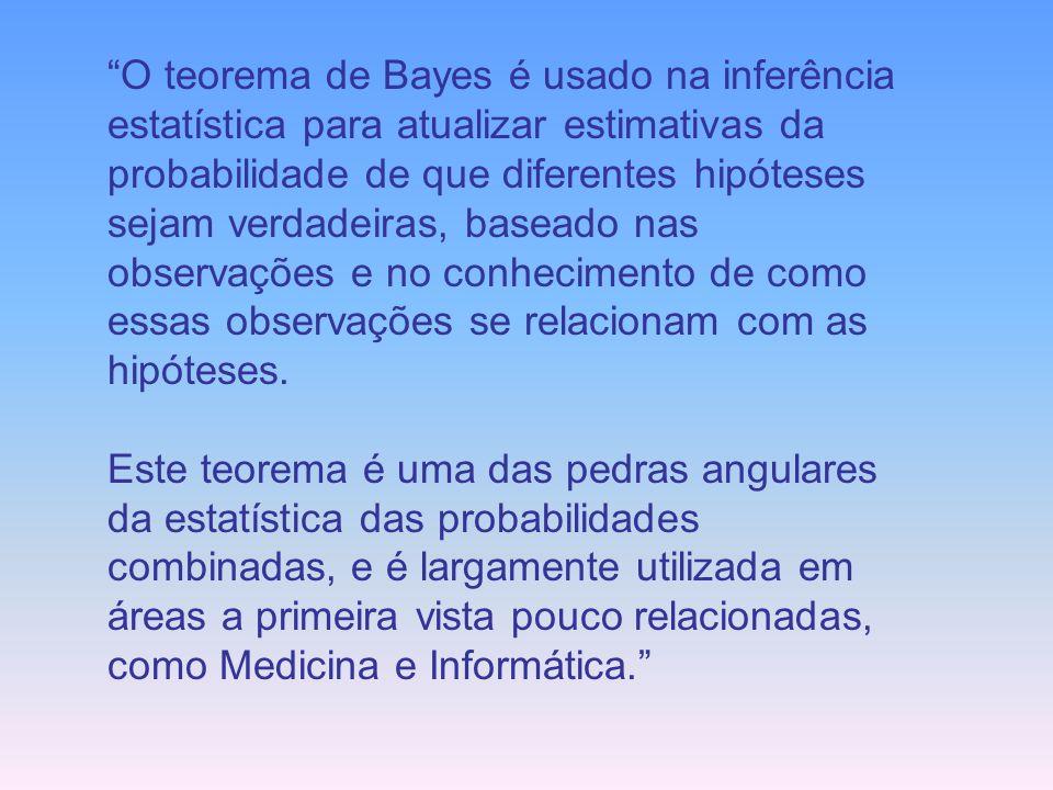 O teorema de Bayes é usado na inferência estatística para atualizar estimativas da probabilidade de que diferentes hipóteses sejam verdadeiras, baseado nas observações e no conhecimento de como essas observações se relacionam com as hipóteses.