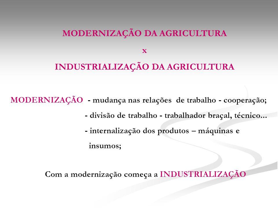 MODERNIZAÇÃO DA AGRICULTURA x INDUSTRIALIZAÇÃO DA AGRICULTURA