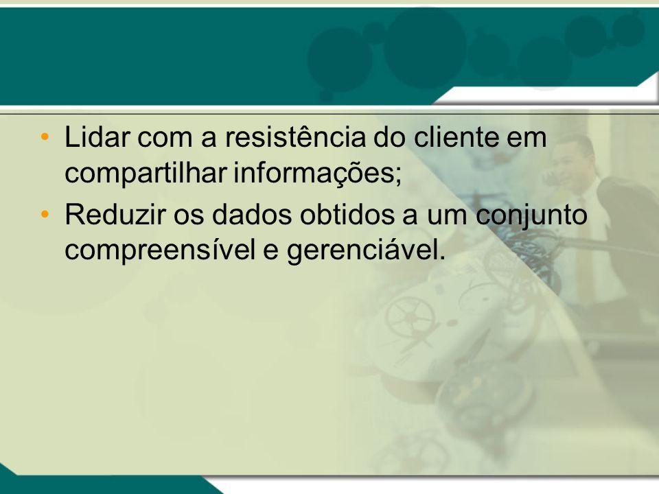 Lidar com a resistência do cliente em compartilhar informações;