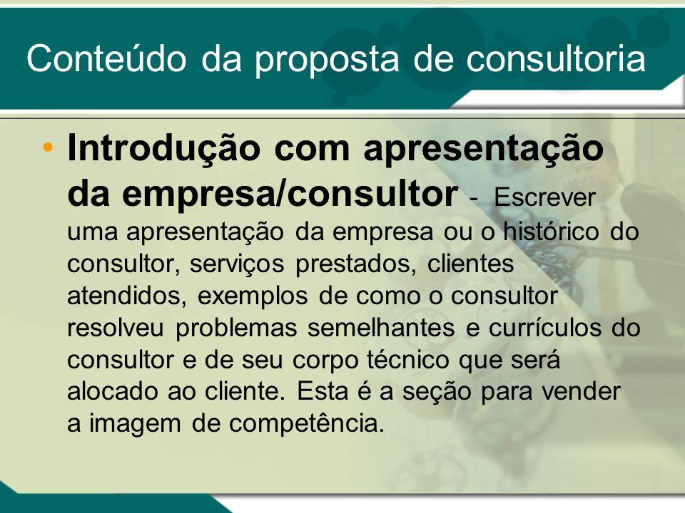 Conteúdo da proposta de consultoria