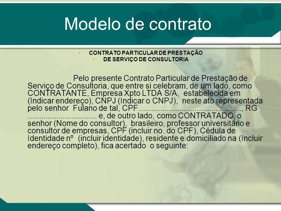 CONTRATO PARTICULAR DE PRESTAÇÃO DE SERVIÇO DE CONSULTORIA