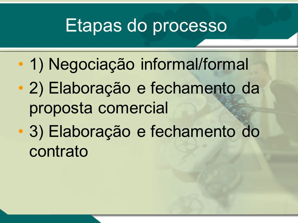 Etapas do processo 1) Negociação informal/formal