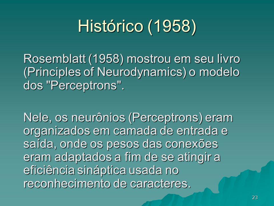 Histórico (1958) Rosemblatt (1958) mostrou em seu livro (Principles of Neurodynamics) o modelo dos Perceptrons .