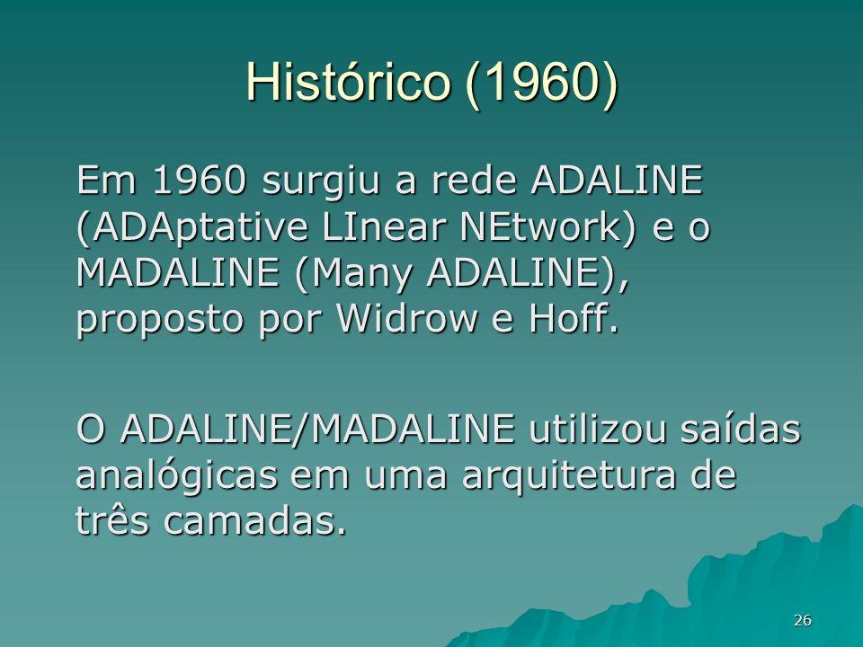 Histórico (1960) Em 1960 surgiu a rede ADALINE (ADAptative LInear NEtwork) e o MADALINE (Many ADALINE), proposto por Widrow e Hoff.