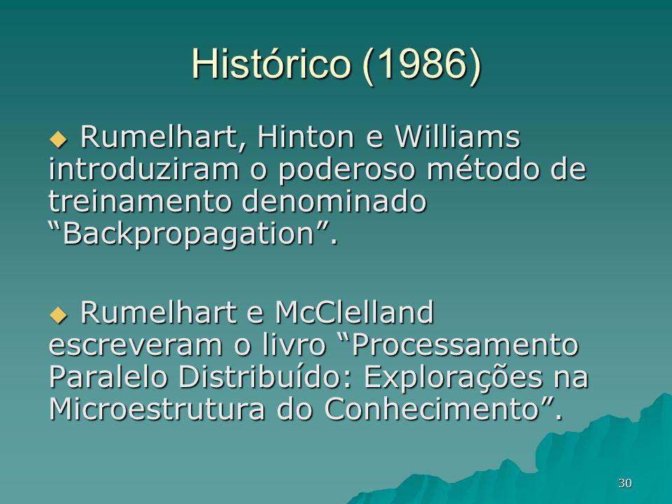 Histórico (1986) Rumelhart, Hinton e Williams introduziram o poderoso método de treinamento denominado Backpropagation .