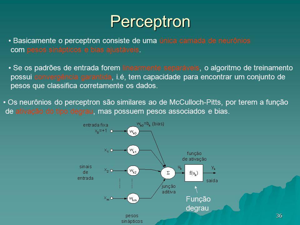 Perceptron Basicamente o perceptron consiste de uma única camada de neurônios. com pesos sinápticos e bias ajustáveis.