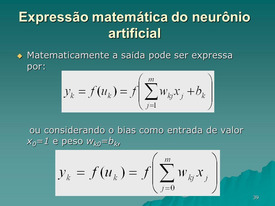 Expressão matemática do neurônio artificial