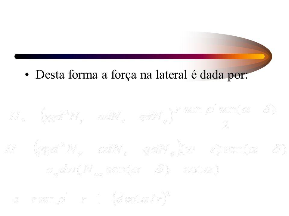 Desta forma a força na lateral é dada por: