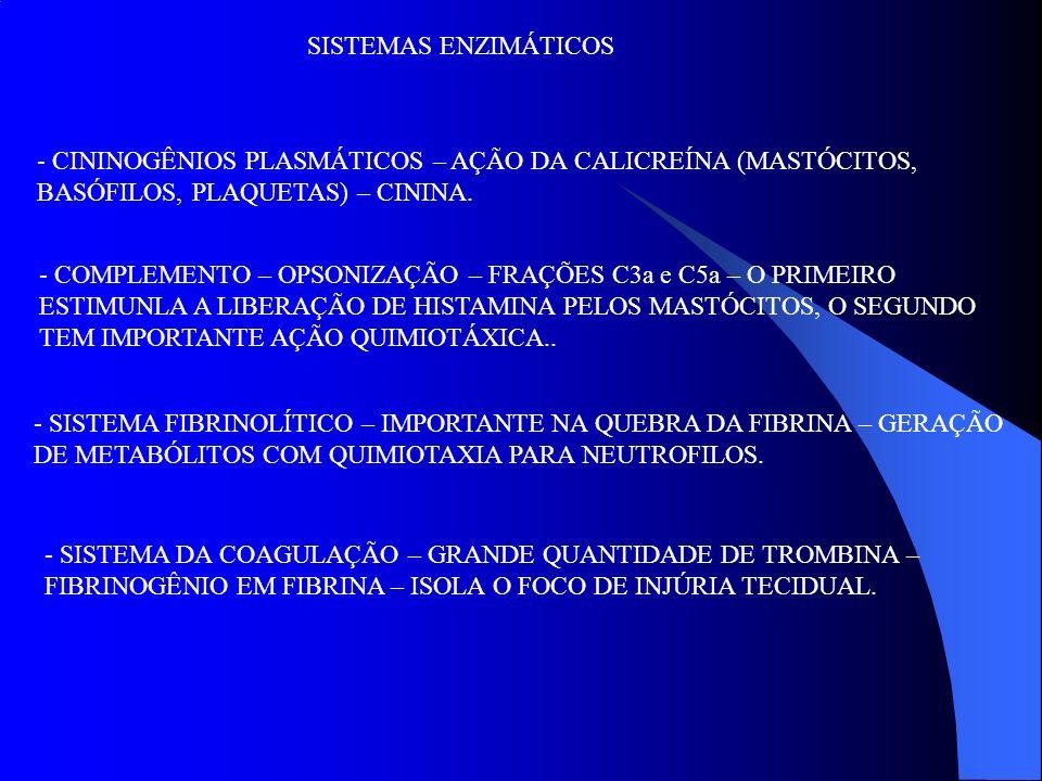SISTEMAS ENZIMÁTICOS CININOGÊNIOS PLASMÁTICOS – AÇÃO DA CALICREÍNA (MASTÓCITOS, BASÓFILOS, PLAQUETAS) – CININA.