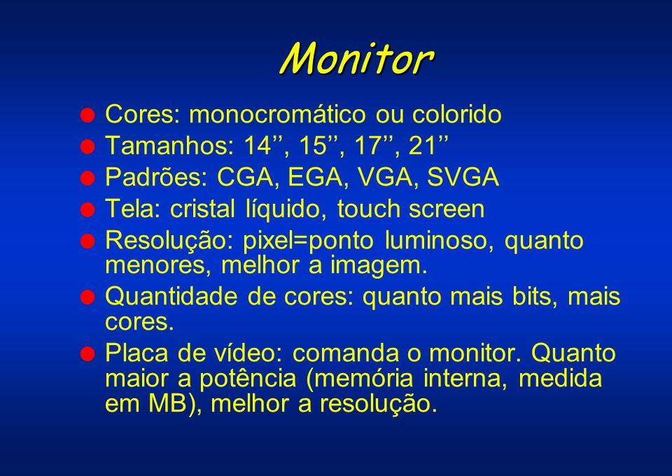 Monitor Cores: monocromático ou colorido