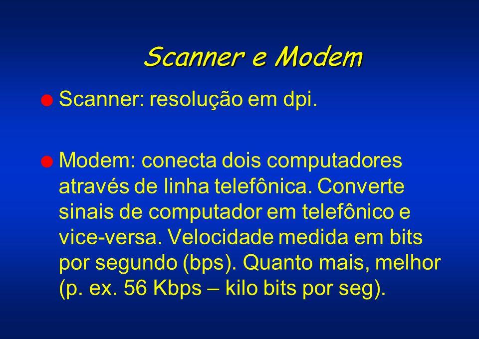 Scanner e Modem Scanner: resolução em dpi.