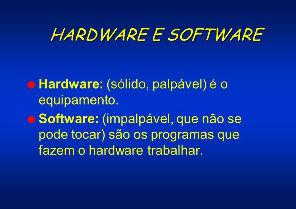 HARDWARE E SOFTWARE Hardware: (sólido, palpável) é o equipamento.