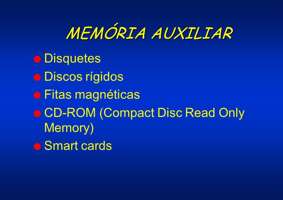 MEMÓRIA AUXILIAR Disquetes Discos rígidos Fitas magnéticas