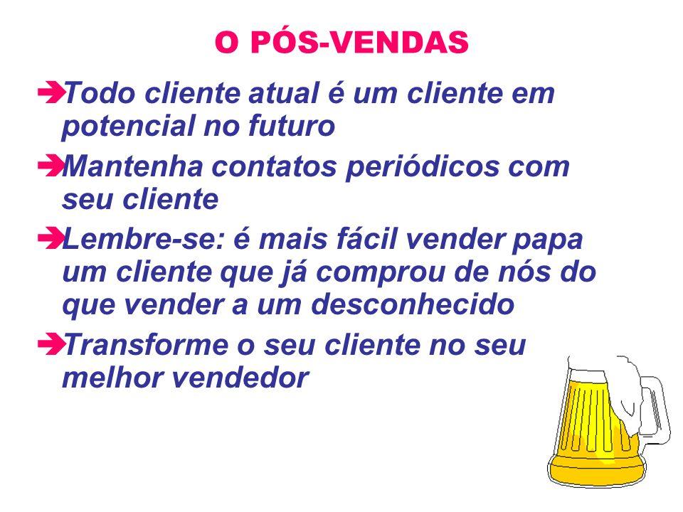 O PÓS-VENDAS Todo cliente atual é um cliente em potencial no futuro. Mantenha contatos periódicos com seu cliente.