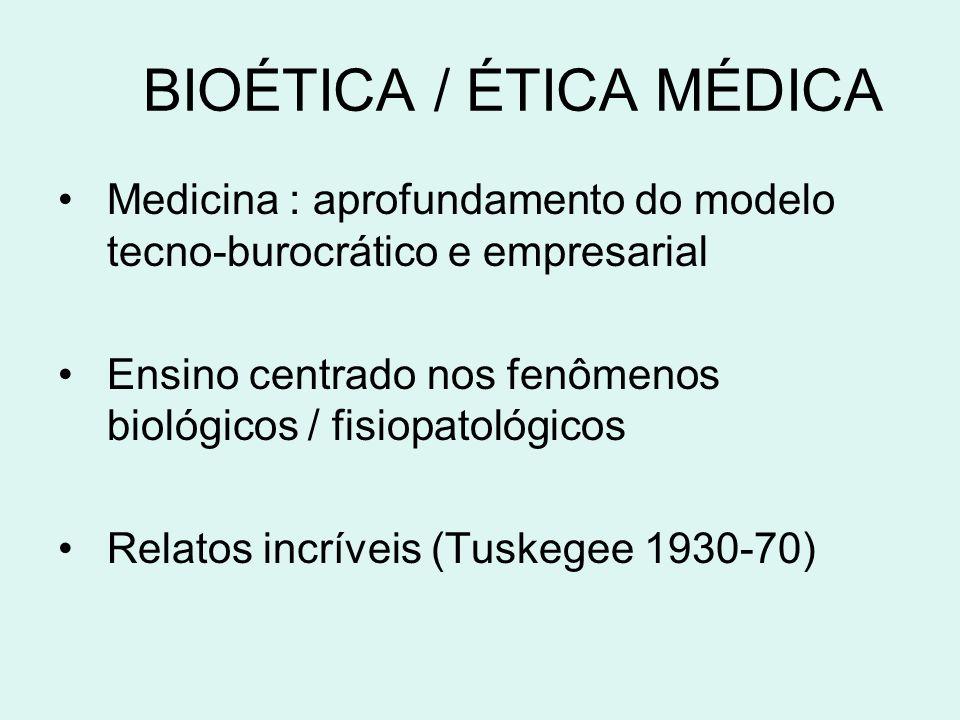 BIOÉTICA / ÉTICA MÉDICA