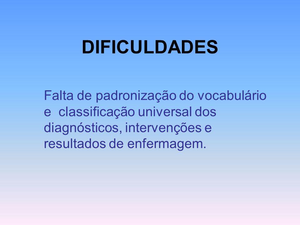 DIFICULDADES Falta de padronização do vocabulário e classificação universal dos diagnósticos, intervenções e resultados de enfermagem.