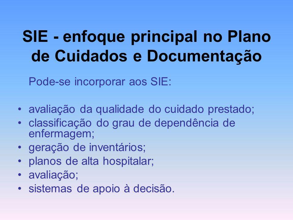 SIE - enfoque principal no Plano de Cuidados e Documentação